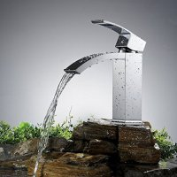 Greenspring Brass Waterfall Single Handle Bathroom Sink Vessel Faucet Basin Mixer Tap,Chrome Finished