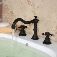 Hiendure Solid Brass Tow Handle Widespread Bathroom Sink Faucet, Oil Rubbed Bronze