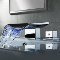Senlesen Two Handle Widespread Bathroom Sink Faucet Tub Waterfall Faucets Chrome Stainless Steel LED Light Spout