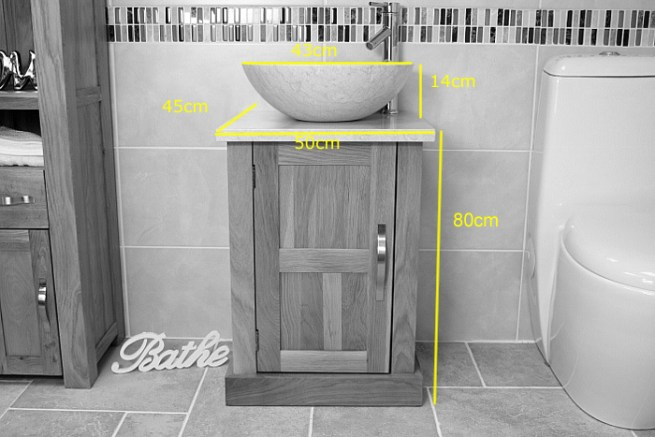 Measurements for the Small Oak Vanity Unit with Marble Top and Basin