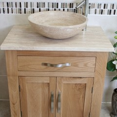 Travertine Basin on Travertine Top Bathroom Vanity Unit