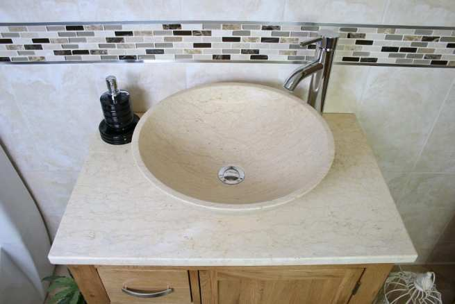 Aerial View of Cream Marble Basin on Cream Marble Topped Vanity Unit