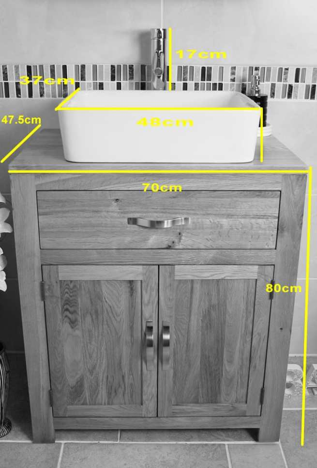 White Ceramic Rectangle Wash Basin on Oak Vanity - Measurements