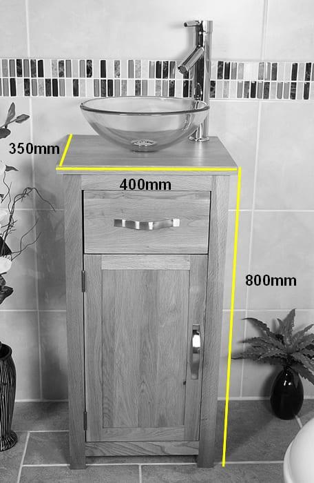 Glass Basin on Single Oak Top Vanity Unit Dimensions