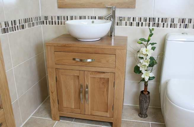 Oval White Ceramic Basin on Solid Oak Vanity Unit
