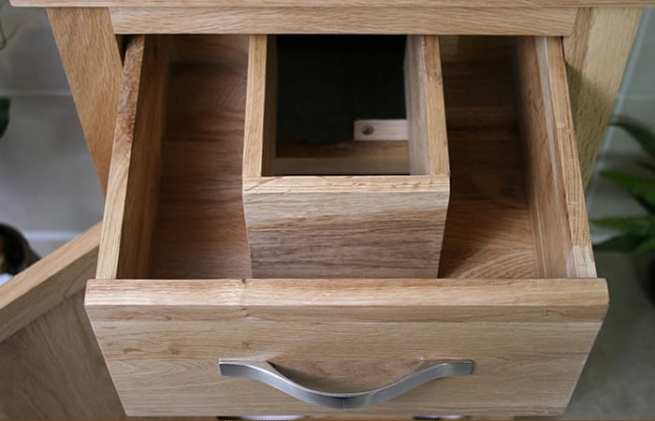 Showing Space Inside of Oak Drawers