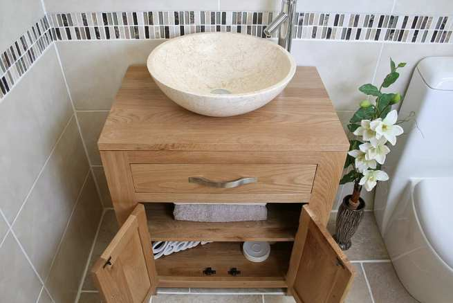 Above View of Cream Marble Basin on Oak Top Vanity Unit