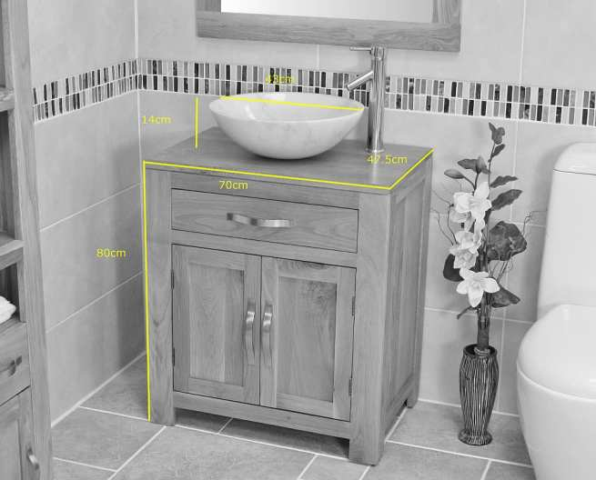 White Marble Basin on Single Oak Top Vanity Unit Measurments