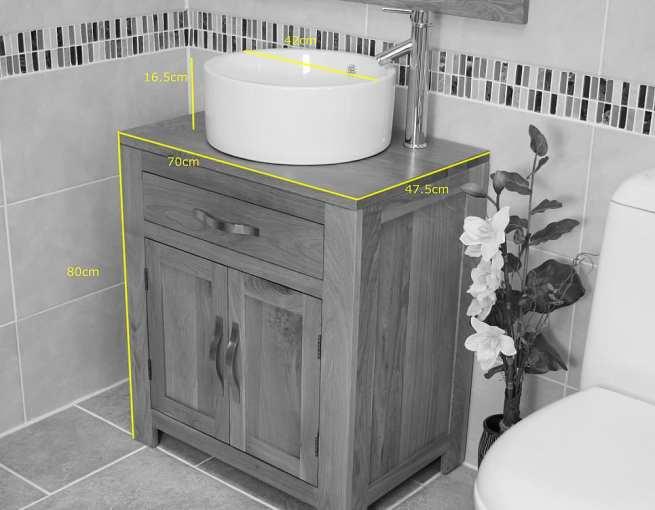 Round White Ceramic Basin on Oak Vanity Unit Dimensions