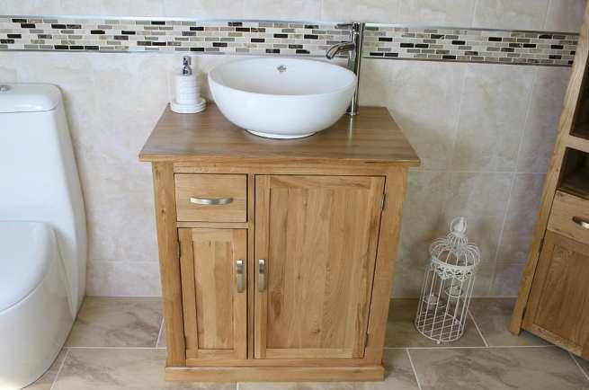 White Round Curved Ceramic Basin & Oak Top Vanity Unit Set