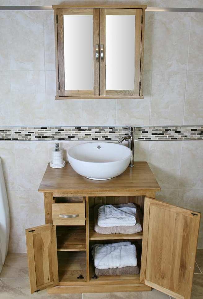 White Ceramic Round Curved Basin & Oak Top Vanity Unit & Mirror Bathroom Cabinet Set