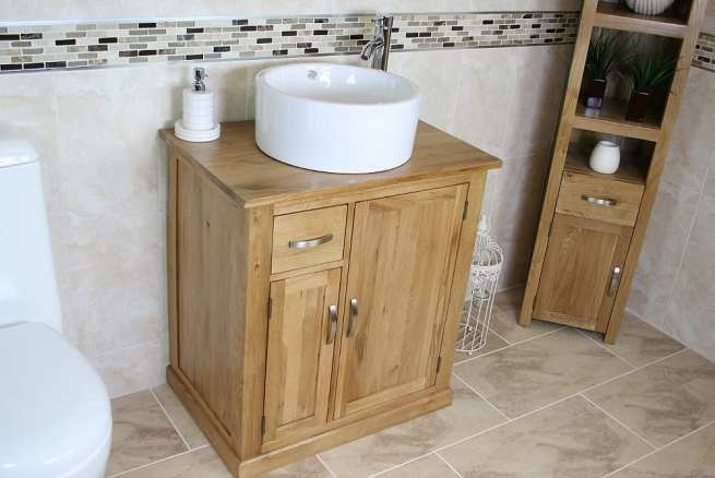 Small Oak Top Vanity Unit with White Round Ceramic Basin - Far Side View