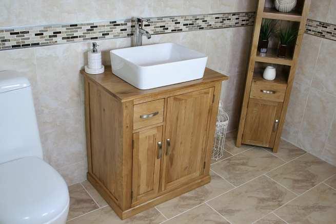 Rectangle Ceramic Bathroom Basin on Oak Top Vanity Unit
