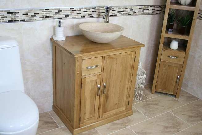 Single Basin Oak Top Vanity Unit with Travertine Basin
