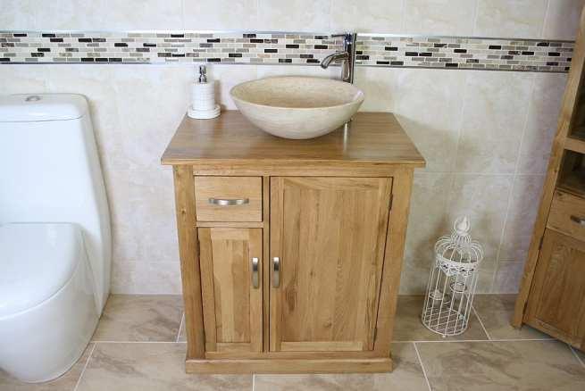 Oak Top Single Basin Vanity Unit with Travertine Basin
