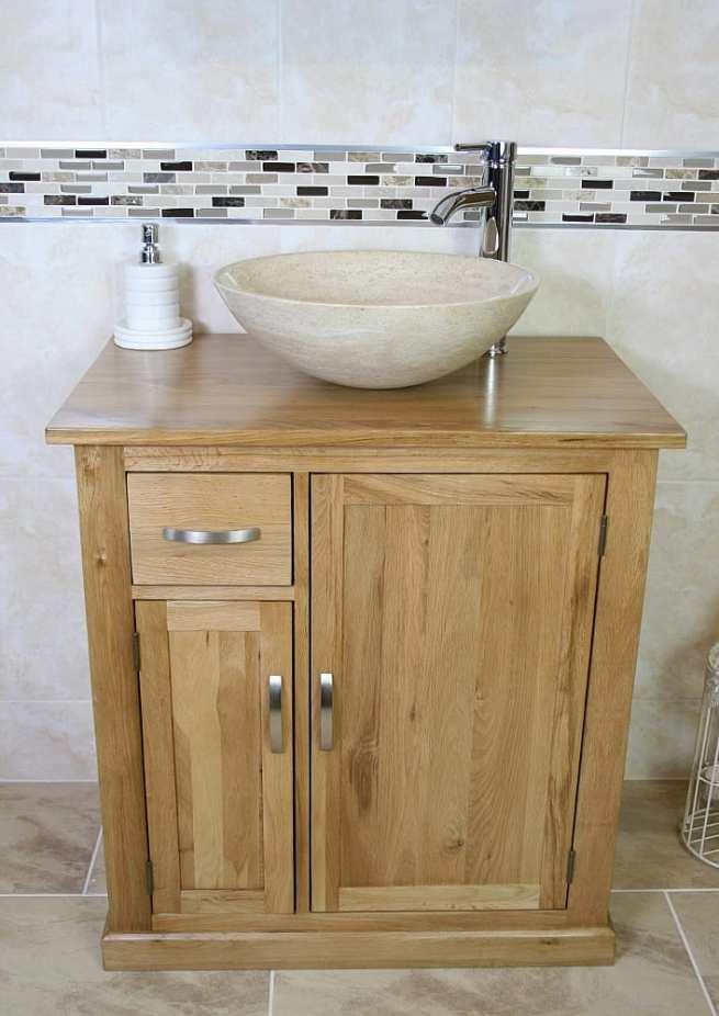 Travertine Basin on Small Oak Top Vanity Unit