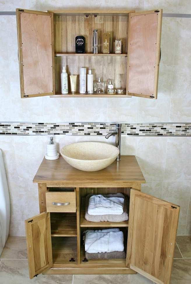 Cream Marble Basin and Oak Storage Cabinet, Open