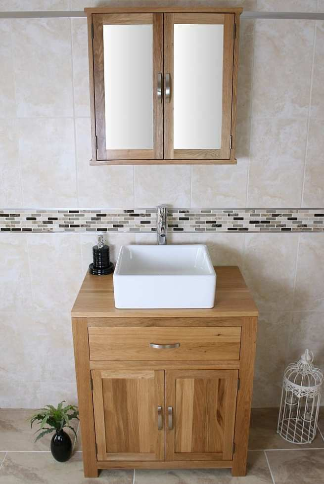 Square White Ceramic Basin with Chrome Mixer Tap on Oak Vanity Unit and Mirror Cabinet