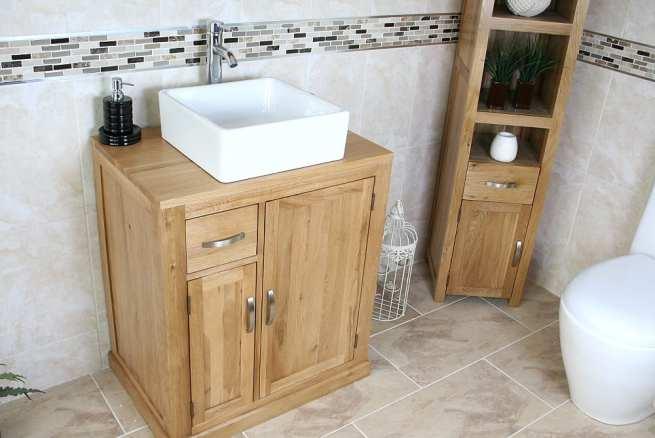 Square White Ceramic Bathroom Basin on Oak Top Vanity Unit