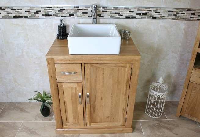 Oak Top Vanity Unit & White Square Ceramic Basin