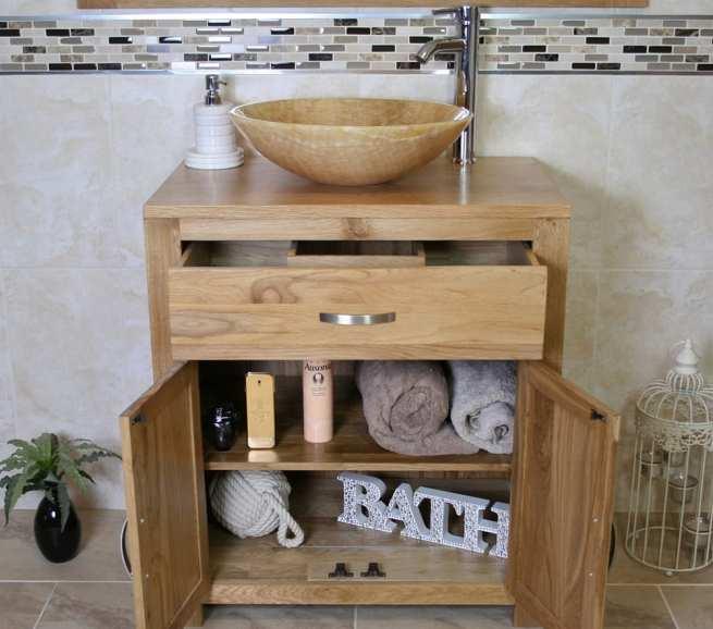 Onyx Bathroom Basin on Oak Top Vanity Unit - Showing Storage
