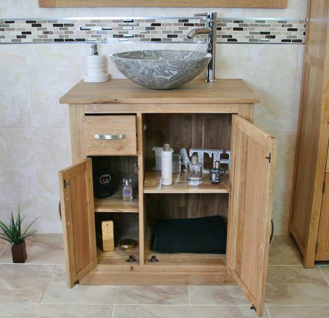 Grey Marble Basin and Open Storage Oak Vanity Unit