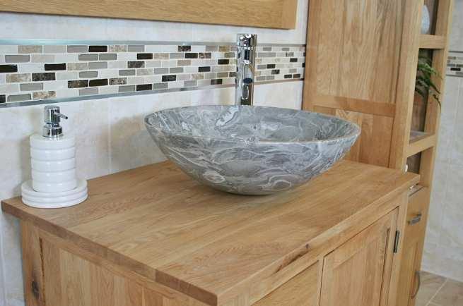 Grey Marble Basin and Oak Top Vanity - Side View