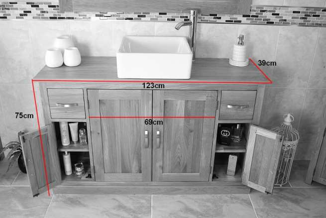 Measurements of Double Basin Oak Top Vanity Unit