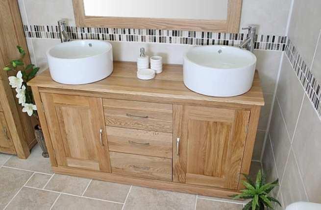 Ceramic Basins - Double Basin Oak Top Vanity Unit