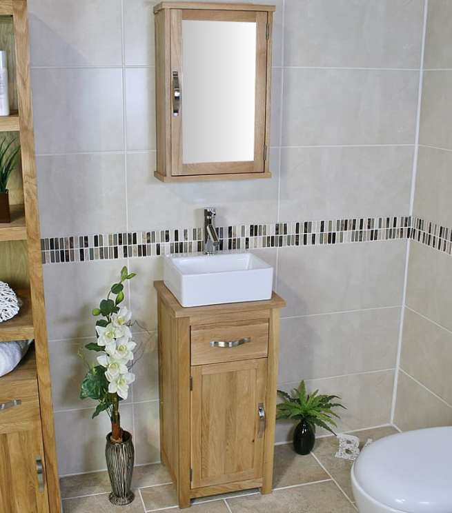 Side View of Ceramic Rectangle Basin on Small Oak Top Vanity Unit