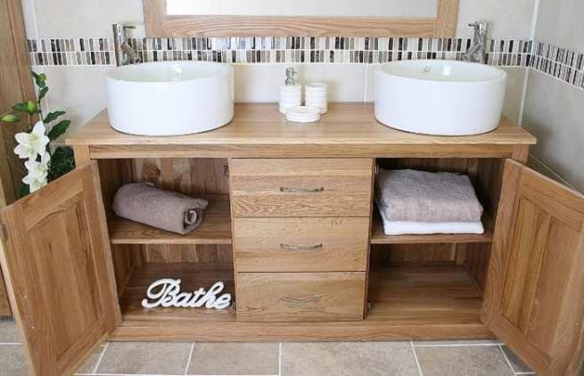 Large Oak Bathroom Storage Unit and Ceramic Basins
