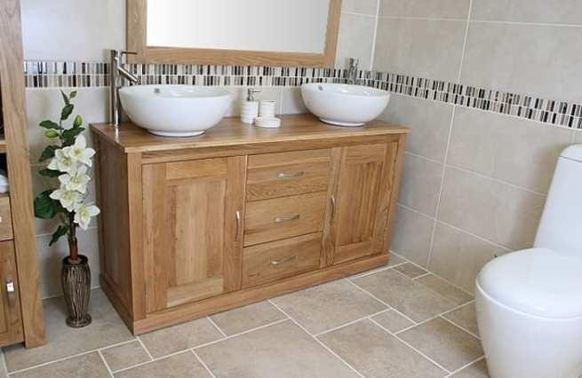 Large Twin Ceramic Basins Oak Top Vanity Unit