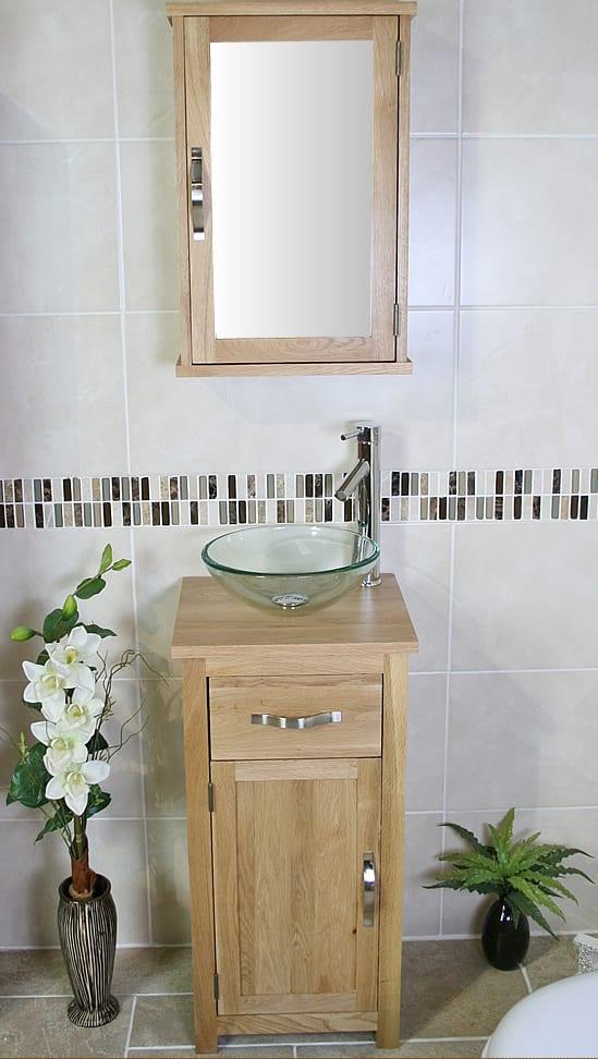 Glass Basin on Single Oak Top Vanity Unit with Oak Mirror Cabinet