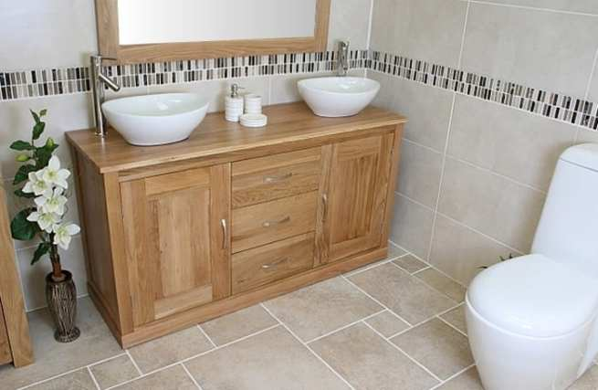 Twin Oval Ceramic Basins on Oak Top Vanity Unit
