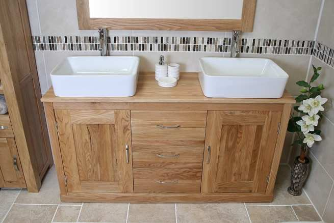Oak Top Vanity Unit With Two Rectangle Ceramic Basins