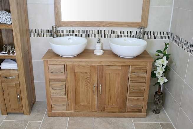 Double Basin Oak Top Vanity Unit with Two Round White Ceramic Basins