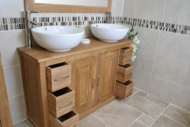 Large Oak Top Vanity Unit with Two Round White Ceramic Basins - Close-up Side View with Open Drawers