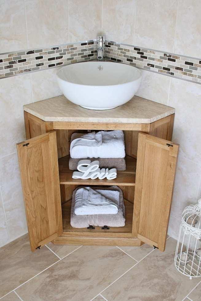Round Curved Ceramic Basin on Travertine Top Vanity Unit, in Corner & Showing Storage