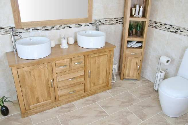 Large Oak Topped Vanity unit with Two White Ceramic Bowls