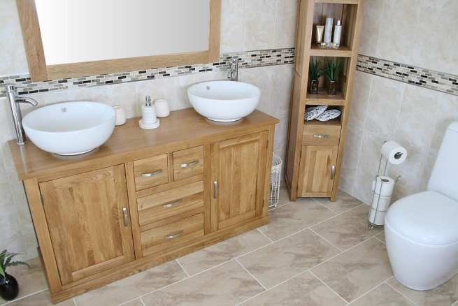 Large Oak Topped Vanity unit with Two White Ceramic Round Basins