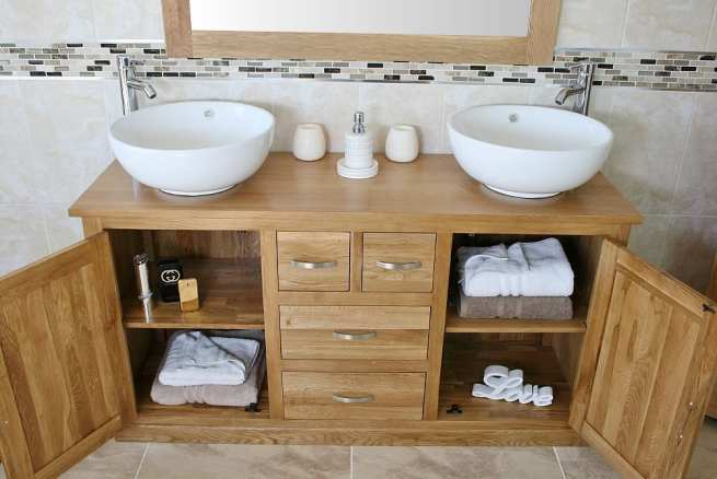 Open Drawers on Large Oak Top Vanity Unit with Two White Ceramic Round Basins