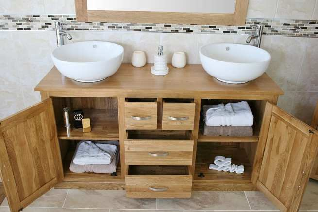 Showing all Storage in Large Oak Topped Vanity Unit with White Ceramic Round Basins