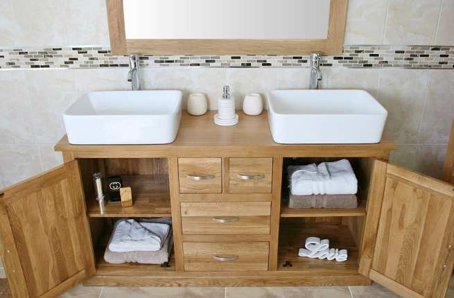 Open Drawers on Large Oak Topped Vanity Unit with Two White Ceramic Rectangle Basins