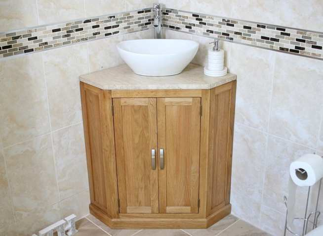 Oval Ceramic Basin on Corner Vanity Unit with Travertine Top - Front View