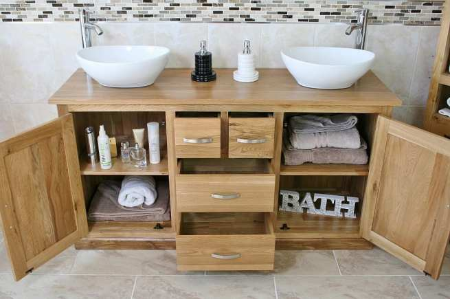 Showing all Storage in Double Basin Oak Topped Vanity Unit with White Ceramic Oval Basins