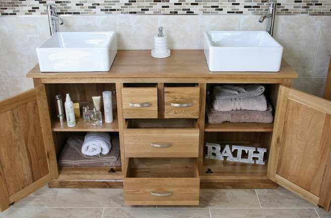 Showing all Storage in Big Oak Top Vanity Unit with White Ceramic Square Basins