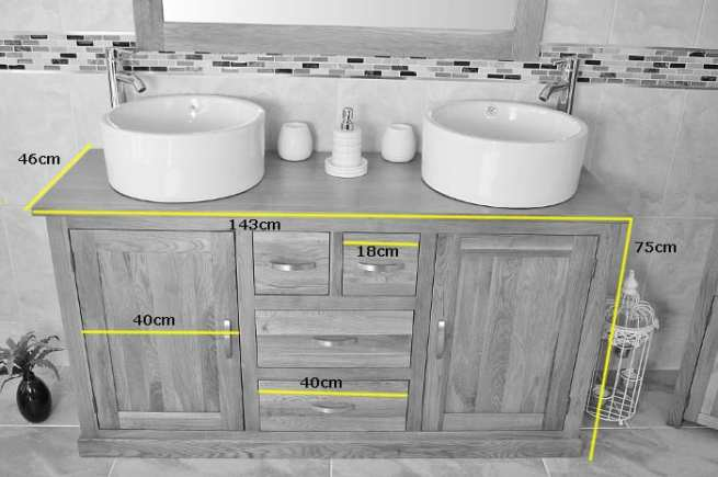 Measurements of Large Oak Topped Vanity Unit with Two Ceramic Bathroom Bowls