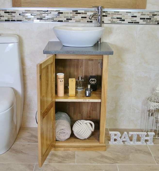 Compact Vanity Unit Showing Storage with Grey Quartz Top & Oval Ceramic Basin