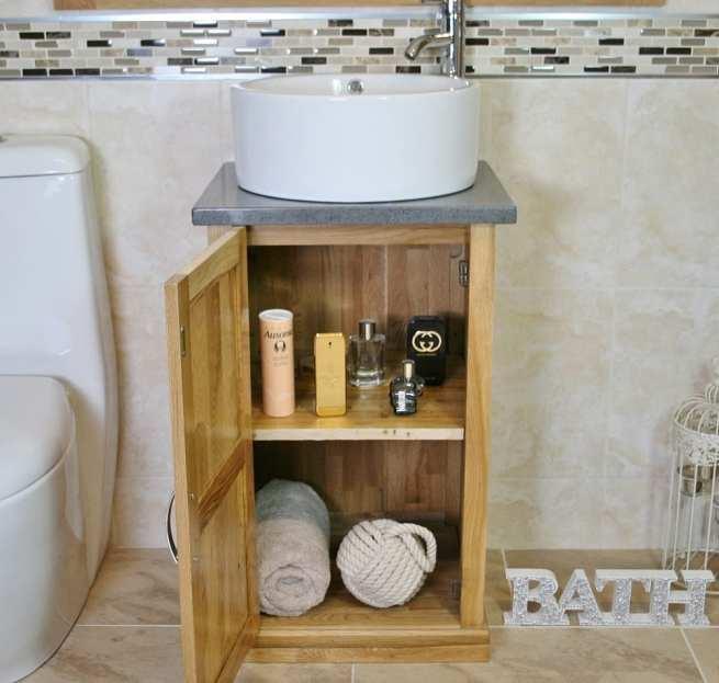 Compact Vanity Unit Showing Storage with Grey Quartz Top & Round Ceramic Basin