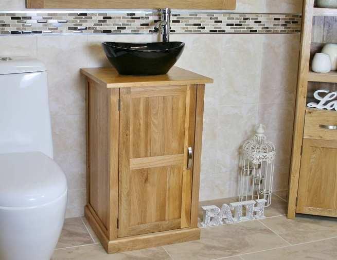 Oak Top Bathroom Vanity Unit & Oval Black Ceramic Basin and Tap Set - Side View